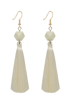 Ethnic Bohemian Tassel Drop Earrings E2819 - White