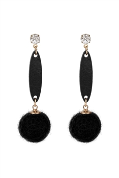 Hair Ball Wood Crystal Dangle Earring E2820 - Black
