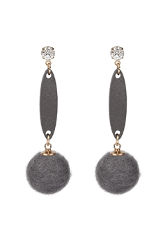 Hair Ball Wood Crystal Dangle Earring E2820 - Grey