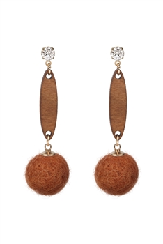 Hair Ball Wood Crystal Dangle Earring E2820 - Orange