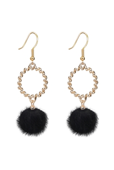 Metal Dangle Artificial Wool Earrings E2822 - Black