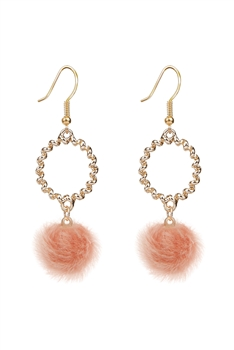 Metal Dangle Artificial Wool Earrings E2822 - Orange
