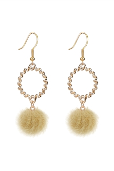 Metal Dangle Artificial Wool Earrings E2822 - Yellow