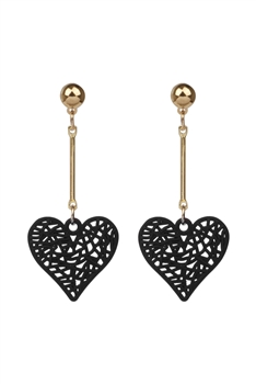 Heart Shaped Alloy Earrings E2823 - Black