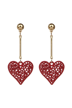 Heart Shaped Alloy Earrings E2823 - Red