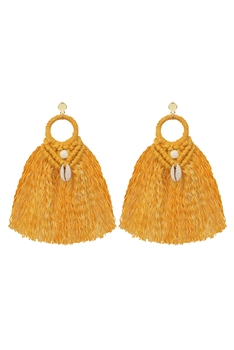 Bohemian Shell Tassel  Braided  Earrings E2833 - Yellow