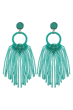Bohemian Rose Tassel  Braided  Earrings E2837 - Green