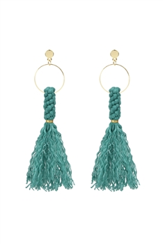 Bohemian  Weave Tassel Earrings E2838 - Green