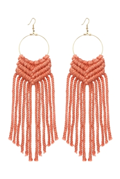 Bohemian Weave Tassel Earrings E2841 - Orange