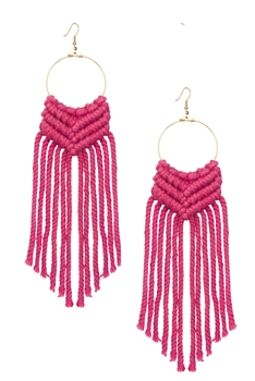 Bohemian Weave Tassel Earrings E2841 - Pink