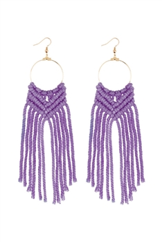 Bohemian Weave Tassel Earrings E2841 - Purple
