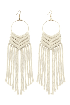 Bohemian Weave Tassel Earrings E2841 - White
