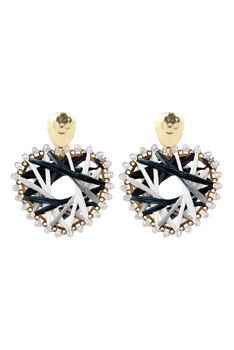Heart Shaped Weave Earrings E2842 - Black