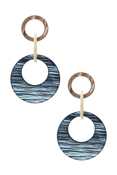 Hollow Round Acrylic Dangle Earring E2851 - Blue