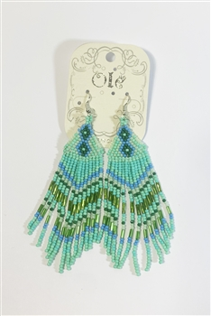 Seed Bead Tassel Earrings E2858 - Green