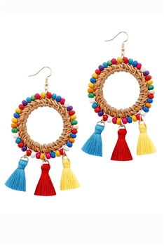 Hollow Cirlce Tassel DangleEarrings E2872 - Multi