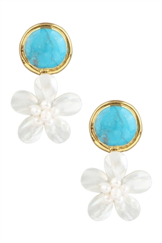 Turquoise Pearl Flower Dangle Earrings E2890