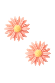 Acrylic Flower Stu Earring E2922 - Orange
