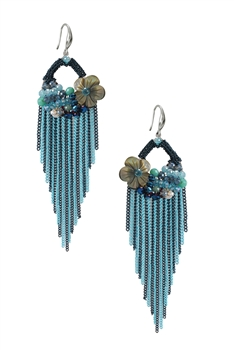 Tassel Chain Earrings E2937 - Blue