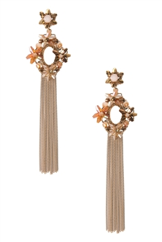 Hollow Crystal Chain Earrings E2938 - Champagne