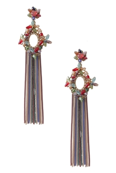 Hollow Crystal Chain Earrings E2938 - Multi