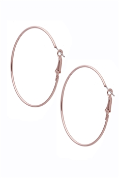 Alloy Circle Hoop Earrings E2945 - Rose Gold