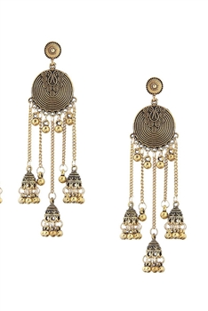 Bell Lantern Tassel Earrings E2954 - Copper