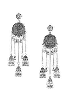 Bell Lantern Tassel Earrings E2954 - Silver