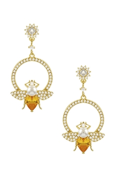 Yellow Crystal Bee Earrings E2955