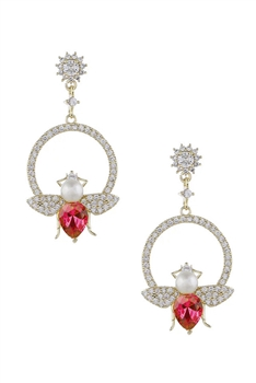 Crystal Bee Earrings E2955 - Red