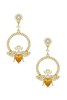 Crystal Bee Earrings E2955 - Yellow