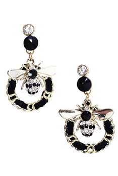 Tindy Crystal Bee Earrings E2956