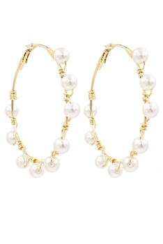 Wrapped Pearl Hoop Earrings E2966