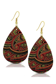 Teardrop PU Leather Earringss E2977 - RED