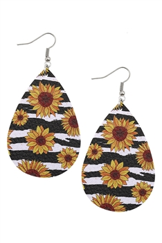 Sunflower Print PU Leather Earrings E2979 - Black