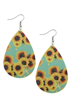 Sunflower Print PU Leather Earrings E2979 - Green