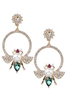 Rhinestone Bee Earrings E3003 - Green