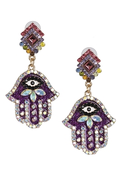 Rhinestone Palm Earrings E3004 - Purple