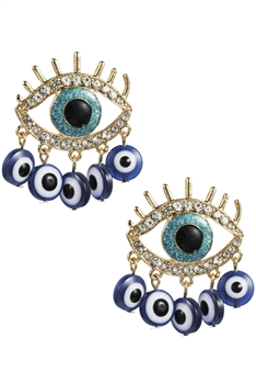 Evil's Eye Tassel Earrings E3012 - Blue