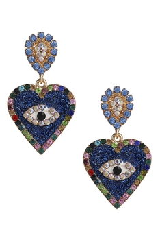 Rhinestone Heart Against Evil Eye Earrings E3015 - Blue