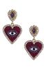 Rhinestone Heart Evil Eye Earrings E3015 - Red