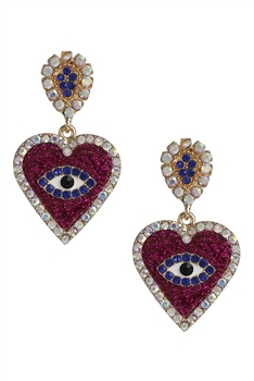 Rhinestone Heart Against Evil Eye Earrings E3015 - Red