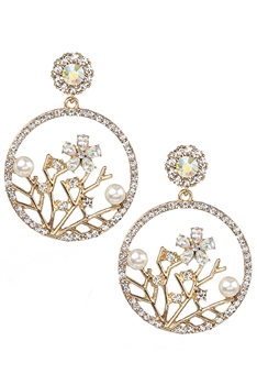 Rhinestone Plum Blossom Earrings E3017 - White
