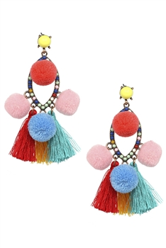 Tassel Pom Pom Earrings E3027