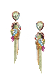 Rhinestone Parrot Earrings E3033