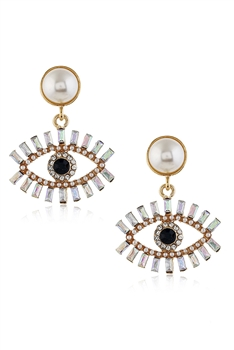 Rhinestone Against Evil Eyes Earrings E3036 - White