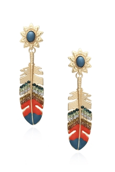 Alloy Feather Earrings E3050 - Orange