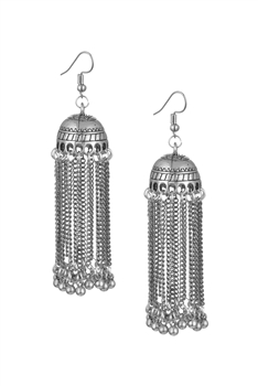 Bells Tassel Earrings E3058 - Silver
