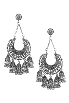 Bell Tassel Earrings E3060 - Silver