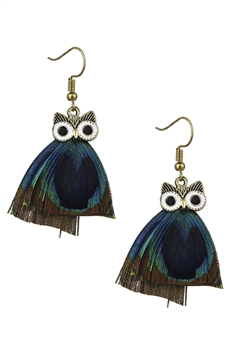Owl Feather Tassel Earrings E3061